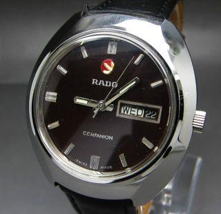 Schwarzer Rado Companion 17 Jewels Mit Tag/datumanzeige Mechanische Uhr Bild