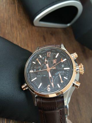 Timex Tx 500 Serie World Time T3b821 Herrenuhr Chronograph Ovp Rosé - Gold Schwarz Bild