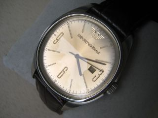 Emporio Armani Ar0310 Uhr Echt Leder Quarz Farbe Gold Braun Armbanduhr Herren Bild