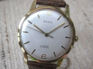 Hau Rado,  Handaufzug,  Cal.  Eta 2390,  Massiv Gold 14k/585,  Läuft Sehr Gut Top Uhr Bild