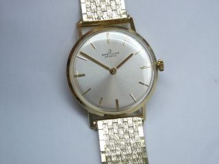 14k 585 Gold Breitling Chronometer Mit Echt Goldenes Band.  Kal.  Felsa 7000 Bild