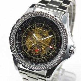 Jaragar Herrenuhr Automatik Edelstahl Armband Silber Mechanisch Skelett Bild
