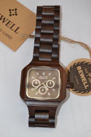 Holzuhr Armbanduhr Holz Bewell Sandelholz Wood Watch Sandalwood Bild