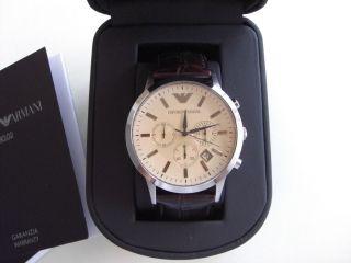 Emporio Armani Herrenuhr Ar2433 Braunes Arnband Chronograph Bild