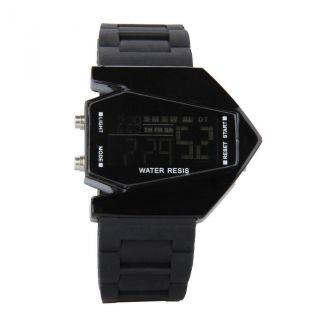 Lcd Silikon Herren Digital Flieger Armband Uhr Led Quarz Sport Uhr Bild