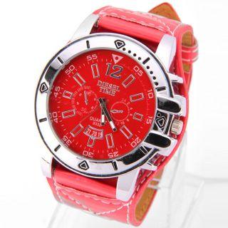Armbanduhr Herren Damen Rot Mit Kunst - Lederarmband Diesel Time Bild