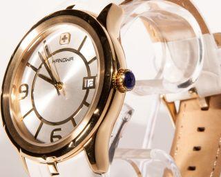 Swiss Military Hanowa Herren Uhr Lederband 16 - 4030 Weiß Gold 1 Bild