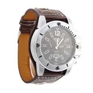 Armbanduhr Herren Damen Braun Mit Kunst - Lederarmband Diesel Time Bild