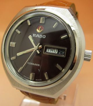 Rado Voyager Mechanische Atutomatik Uhr 25 Jewels Datum & Tag Lumi Zeiger Bild