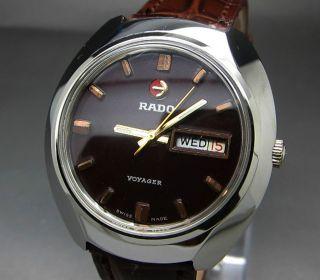 Rot Rado Voyager 17 Jewels Mit Tag/datumanzeige Mechanische Automatik Uhr Bild