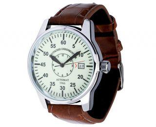 Deutsches Uhrenkontor Herrenuhr Automatic Herren Uhr Armbandihr Leder Braun Bild