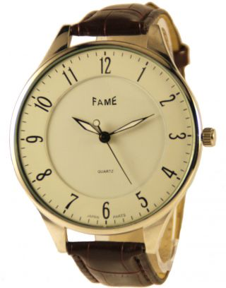 Fame Slim Watch Flache Armbanduhr Leder Herrenuhr Analog Braun Bild