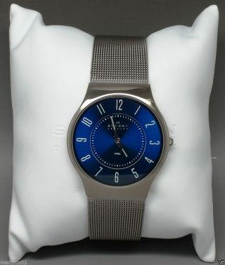 Skagen Denmark Damenuhr 233lstn Blau Milanaisearmband Slim Np: 129€ Bild