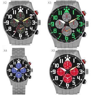 Astroavia,  Pilot Chronograph,  Alarm,  Wecker,  Military Chronograph,  Edelstahl,  X Bild