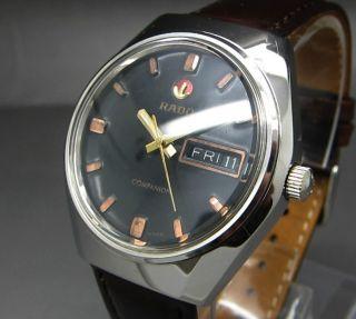 Schwarzer Rado Companion 25 Jewels Mit Tag/datumanzeige Mechanische Uhr Bild