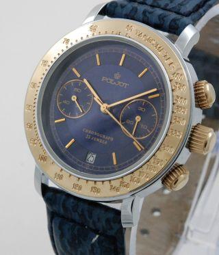 Poljot Chronograph Herren Armbanduhr Blaues Ziffernblatt Handaufzug Russia Watch Bild
