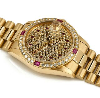 Rolex Datejust Gelbgold Medium Pave Zifferblt DiamantlÜnette Mit Rubinen Bild