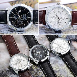 Mode Geschenk Faux Lederband Runden Zifferblatt Quarz Herren - Armbanduhr Bild