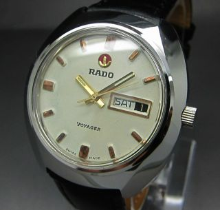 Weiß Rado Voyager 17 Jewels Mit Tag/datumanzeige Mechanische Automatik Uhr Bild