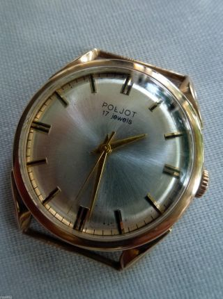 Poljot Ussr Cccp Wristwatch,  14k Real Goldcase (. 538 Sovjet Goldstamp) Very Rare Bild