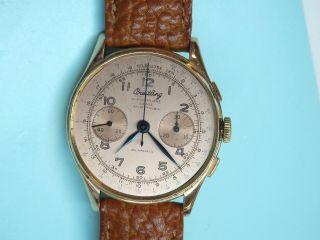 18k 750 Gold.  Breitling Chronomat Chronograph Uhr Landeron Werk Bild