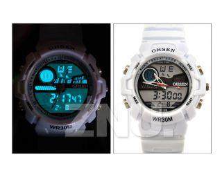 Weiss Unisex Armband Damen Herren Kinder Sport Quarz Uhr Gummi Analog & Digital Bild