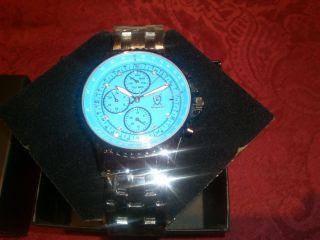 Neue TÜrkise Ovp KÖnigswerk Armbanduhr,  Chronograph,  Mit Diamanten Und Zertifikat Bild