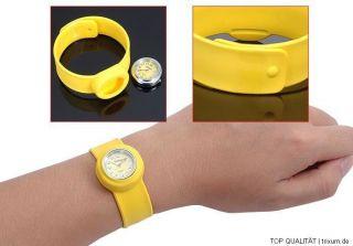 ☆ Kinder Armbanduhr Slap On Snap Klaps Silikon Uhr ☆ Gelb Oder Weiß Bild