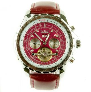 Jaragar Herrenuhr Model Mechanisch Leder Armband Uhr Selten Bordeaux Bild
