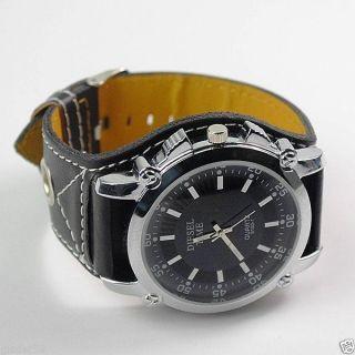 Armbanduhr Herren Damen Schwarz Mit Kunst - Lederarmband Diesel Time Bild