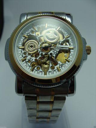 Herren Uhr Automatik Uhr Gold Skelettuhr Metall Armbanduhr Bild