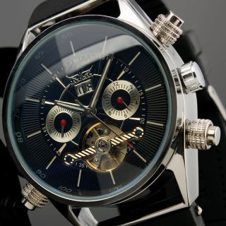 D Herrenuhr Automatik Gummi Armband Uhr Schwarz (top Uhr) Jaragar Elegant Bild