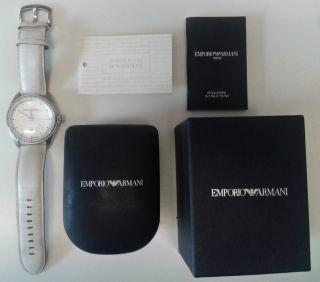 Emporio Armani Uhr Armbanduhr Weiß Leder Fast Wie Bild