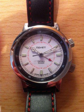 Armbanduhr Poljot 2612 Signal Alarm Wecker Russische Uhr Bild