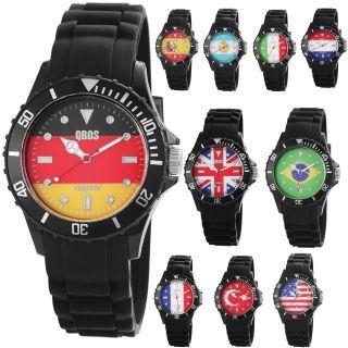 Qbos Damen/herren Silikon Armbanduhr Uhr Fussball Wm 2014 Flagge Fahne Flag Bild