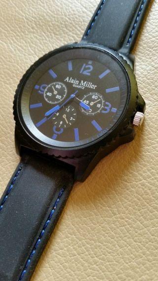 Herrenuhr Armbanduhr Alain Miller Silikonuhr Schwarz Chrono - Look Uhren Top Bild