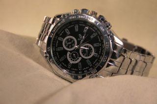 Orlando Herren Mit Metall Armband Schwarz Silber Military Uhr Watch Analoguhr Bild