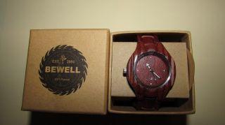 Damen Bewell Holz Armbanduhr Holzuhr Sandelholz Unikat Echtholz Holzarmbanduhr Bild