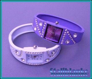 Kinder Damen Armreif Uhr In Weiß Oder Violett,  Quarz Uhr Mit Strass Armbanduhr Bild
