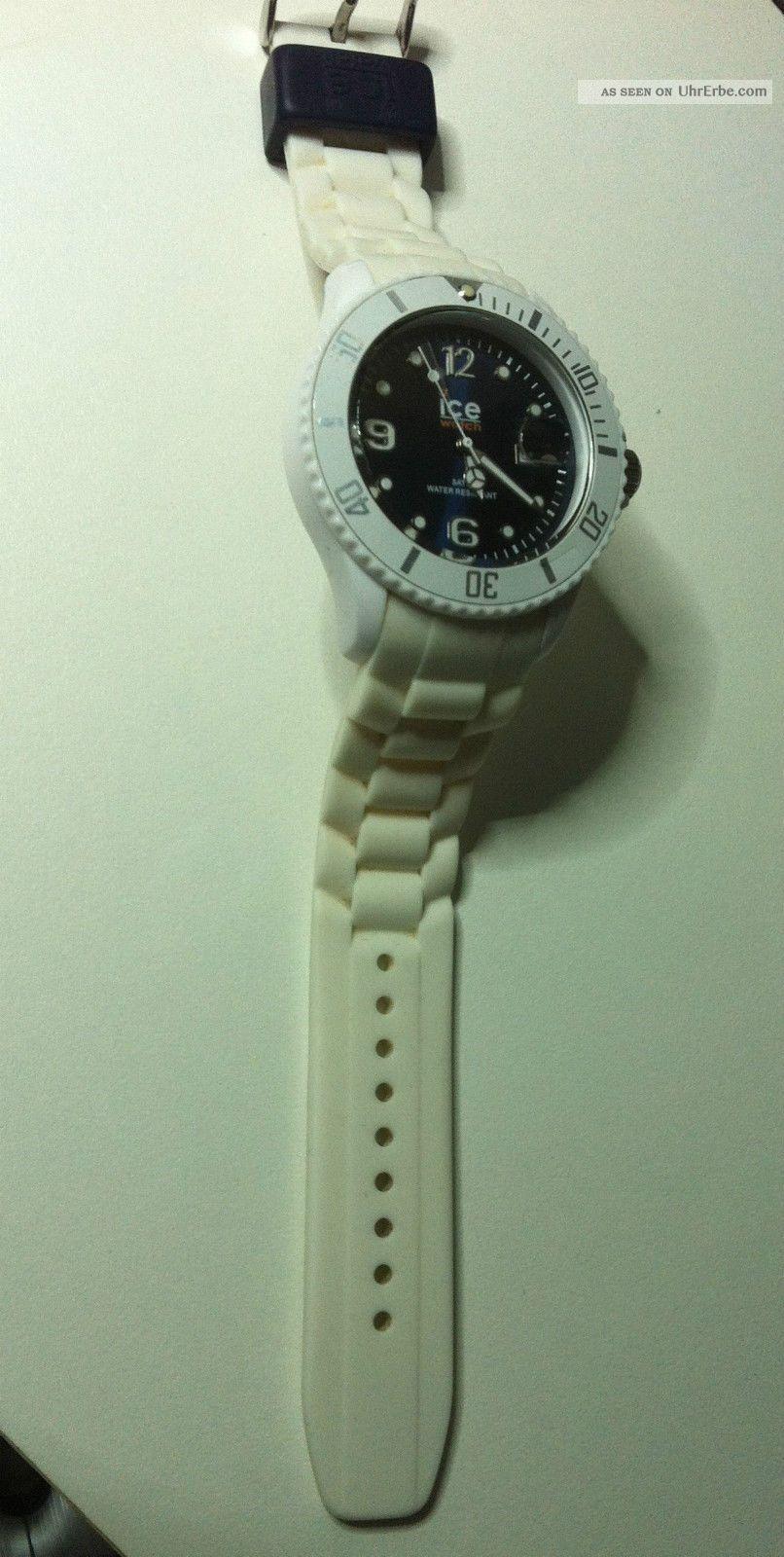 armbanduhr ice watch wei ziffernblatt blau ohne ovp. Black Bedroom Furniture Sets. Home Design Ideas
