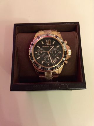 Wow Michael Kors Mk5875 Everest Damen Uhr Chronograph Rosè Gold / Schwarz Bild
