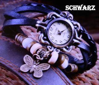 Armbanduhr Rund Modisch Damen Vintage Retro Quartz Analog Schmetterling Anhänger Bild