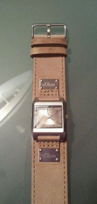 S.  Oliver Armbanduhr Uhr Leder Bild