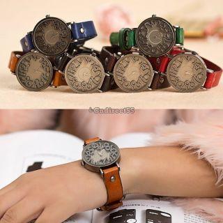 Frauen - Mädchen - Dame - Casual - Jahrgang - Armband - Uhr - Quarz - Bewegung Leder - Armbanduhr Bild