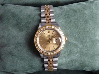 Rolex 69173 Originale Papiere Und Box Lady Date Just Stahl Gold Saphirglas Bild