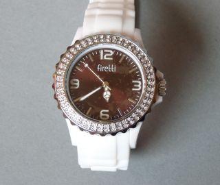 Firetti - Damen Silikon Uhr,  Glaskristallen - Weiß,  Braun - Wasserdicht - Bild