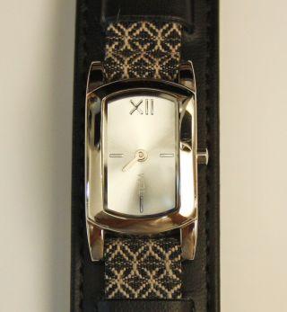 Damenuhr Tcm Leder Textil Armband Schwarz Miyota 5y20e Werk Mit Neuer Batterie Bild
