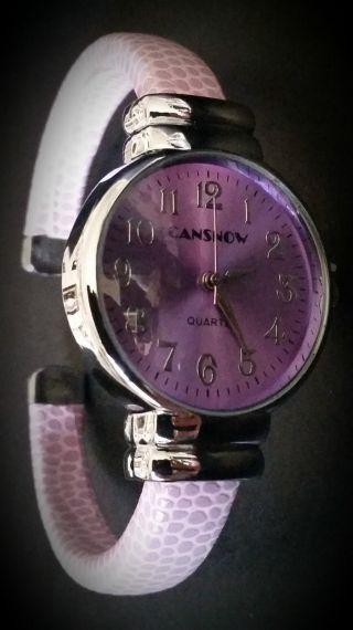 Damen Armband Uhr Armreif Cansnow Pink Bild