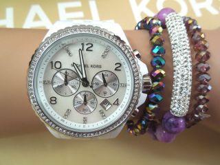 Michael Kors Uhr Mk5489 Damenuhr Chrono Xxl Weiß - Silber Bild