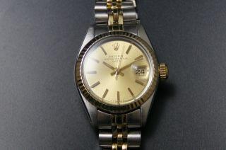 Rolex Oyster Perpetual Date Lady Damenuhr Stahl/gold Ref 6917 Cal.  2030 Bild